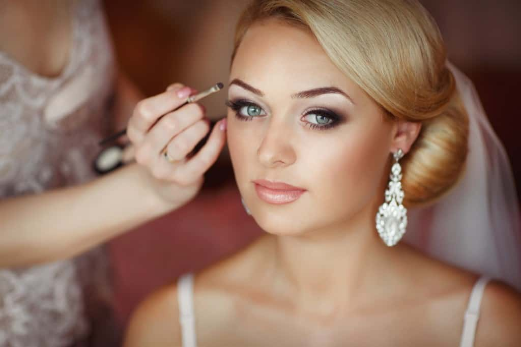 Beautiful bride wedding makeup hairstyle marriage; Cosmetic surgery